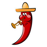 Red cartoon pepper in a sombrero plays on a pipe.Holidays Cinco de Mayo Royalty Free Stock Images