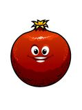 Red cartoon pomegranate Stock Photos