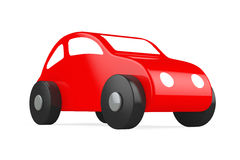 Red Cartoon Toy Car. On a white background. 3d rendering royalty free stock photography