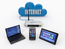 Red casera del wifi. Internet vía el ranurador Imagen de archivo