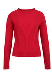 Red cashmere or wool cable sweater Stock Photos