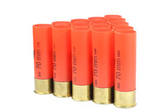 Red casings from a shotgun Stock Image