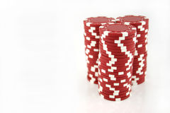 Red Casino Chips 3 Full Stacks. 3 Full stacks of red casino chips isolated on a white background Royalty Free Stock Photo