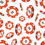 Red casino chips in air on white seamless pattern Stock Photo
