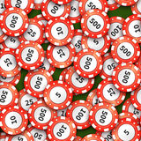 Red casino chips on green cloth, seamless pattern Royalty Free Stock Photography