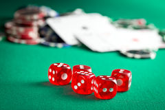 The red casino dice and casino chips Stock Images