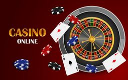 Red casino online concept background, realistic style stock illustration