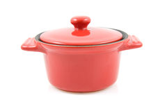 Red casserole isolated on white Royalty Free Stock Image