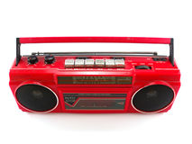 Red cassette radio. Isolated on white background Stock Image