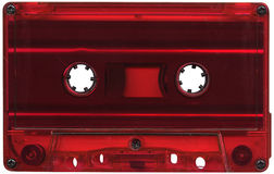 Red cassette tape. Retro red plastic cassette tape stock image