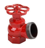 Red cast iron indoor fire hydrant valve with male thread Royalty Free Stock Photos