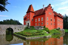 Red castle Cervena lhota - Červená lhota. Czech Republic - noted red castle Cervena lhota stock photo