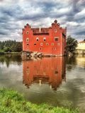 Red Castle Czech Republic Water Reflection Stock Images