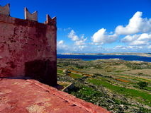 Red castle tower. Red castle wall close up in Malta Stock Image