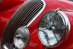Red cat. An Oldtimer with it Sunflower Ralley, in which city Waren, Mecklenburg-Western Pomerania, Germany Royalty Free Stock Photo