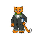 Red cat boss in office. Vector illustration. Royalty Free Stock Photos