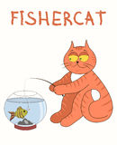 Red cat catches fish from aquarium Royalty Free Stock Images