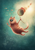 Red cat catching fishes stock illustration