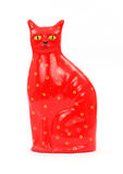 Red Cat Ceramic Savings Bank Royalty Free Stock Photo