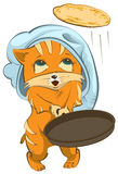Red cat Chef tosses pancake up. Isolated on white vector cartoon illustration Stock Photo