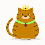 A red cat with a crown and a suspension sits. Royalty Free Stock Images
