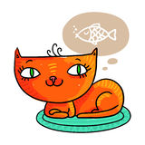 Red cat dreaming of a fish, isolated on white. Illustration of a cute red cat dreaming of a fish, isolated on white Royalty Free Stock Photography
