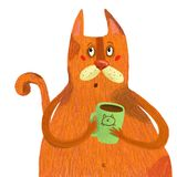 Red cat drinks from a green mug. Nred cat is very fond of drinking tea from his green mug Stock Images