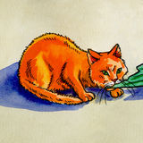 Red cat eats watercolor. Illustration on paper red cat eating fish tail watercolor Royalty Free Stock Image
