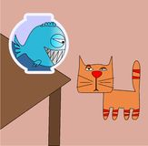 Red cat and  fish. The red cat looks at a fish in an aquarium Royalty Free Stock Image
