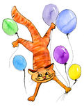 Red cat flying with balls. Red cat with air balls jumping. Watercolor illustration Royalty Free Stock Images