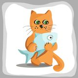 Red cat holds big fish. Red cat with green eyes. Big blue fish. Grey frame. Vector illustration. Isolated on white background vector illustration