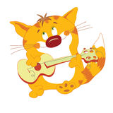 Red_cat_with_guitar. Red cat with guitar stand and play Stock Illustration