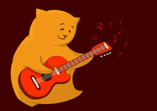 Red cat-guitarist. Cheerful red cat-pillow playing a guitar, from which notes take off Royalty Free Stock Photo