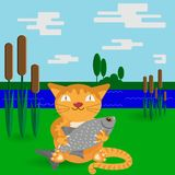 A cat with a big fish in a flat style stock illustration