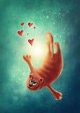 Red cat in love Stock Image