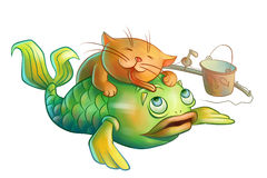 Red cat loves fish. Red cat loves green fish and licking it Royalty Free Stock Images