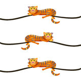 Red cat lying on a branch. Style flat. - Stock vector Royalty Free Stock Image