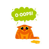 Red cat with Ooops bubble Stock Image