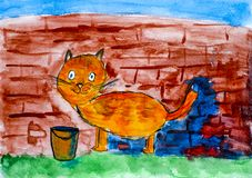 Red cat painting brick wall by his tail. Child watercolour hand Stock Photo