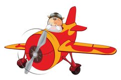 Illustration of a Cute Cat Aircraft Pilot and a Plane. Cartoon Character. Red cat the pilot by the plane Royalty Free Stock Images