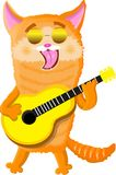Red cat playing on the guitar vector illustration