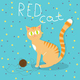 Red cat plays with wool ball. Illustration of red cat plays with wool ball Stock Photos