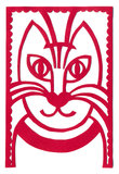 Red cat portrait artistic applique Royalty Free Stock Photo
