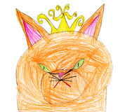 Red cat queen. child drawing. Royalty Free Stock Image