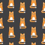 Red cat seamless pattern black Royalty Free Stock Photos