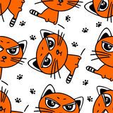 Red cat seamless pattern Royalty Free Stock Images