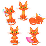 Red Cat. Sitting Cat. Sleeping Cat. Cat And Phone. Cat And Smartphone. Cat And Computer. Vector Cat. Vector Illustration. Red Cat Plush. Red Cat Tail And Royalty Free Stock Photos