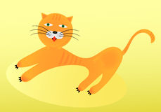 Red cat stretches. On a yellow background vector illustration