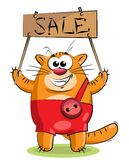 Red cat with a tablet Stock Photos