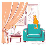 Red cat watching birds near the window.Interior room with modern. Armchair.Vector sketchy illustration Royalty Free Stock Photos